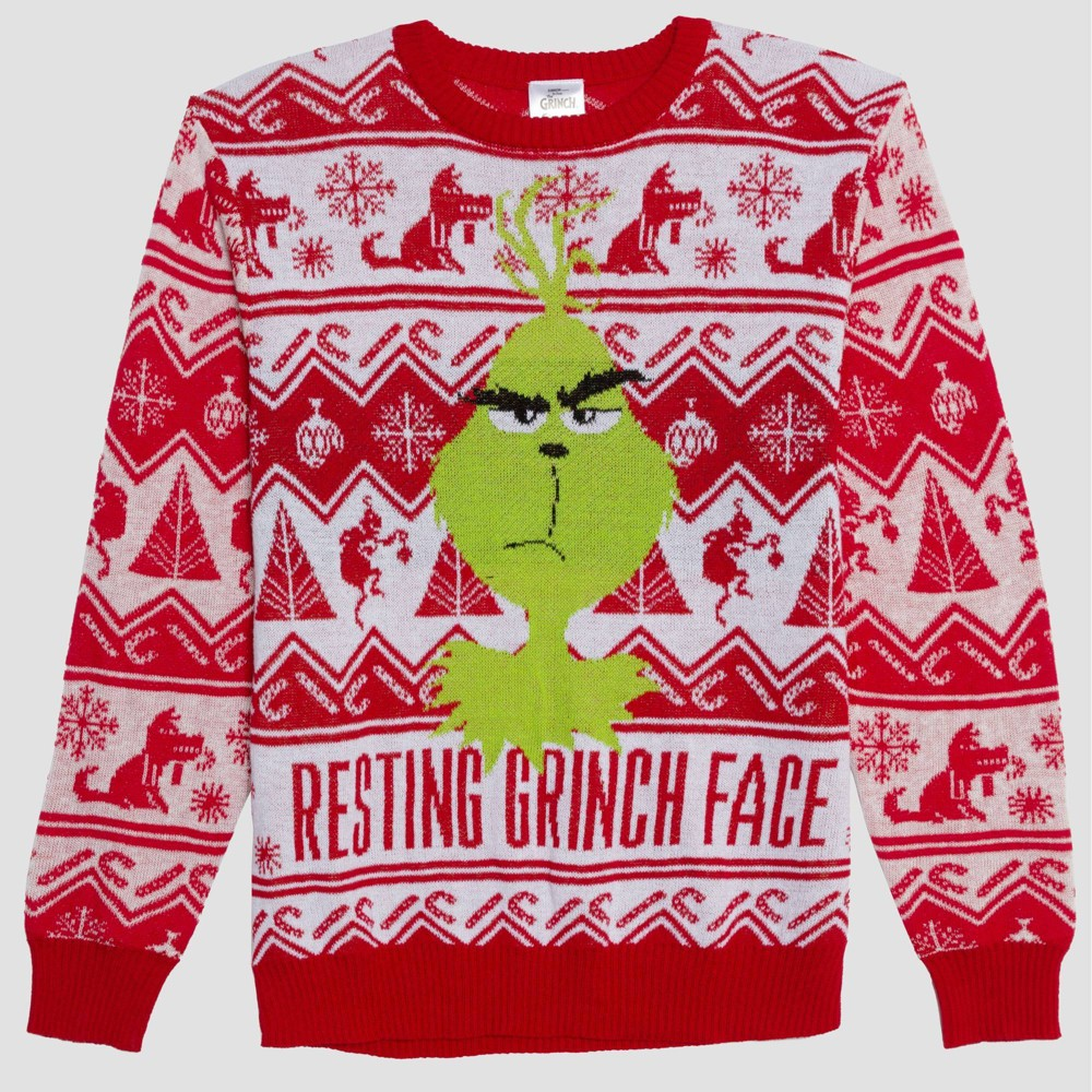 Image of Men's Resting Grinch Face Graphic Sweatshirt - Red 2XL