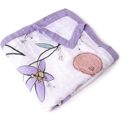 """JumpOff Jo - Swaddle Baby Blanket - 47"""" x 47"""" - Bamboo and Cotton - Fairy Blossom Floral"""