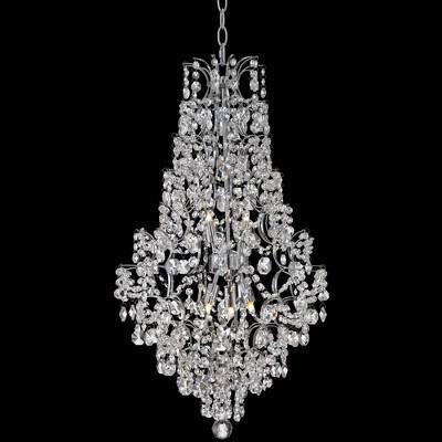 "Vienna Full Spectrum Chrome Crystal Pendant Chandelier 18 1/4"" Wide Modern 5-Light Fixture for Dining Room House Foyer Kitchen"