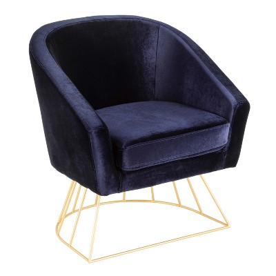 Canary Contemporary Glam Tub Chair Blue/Gold - LumiSource