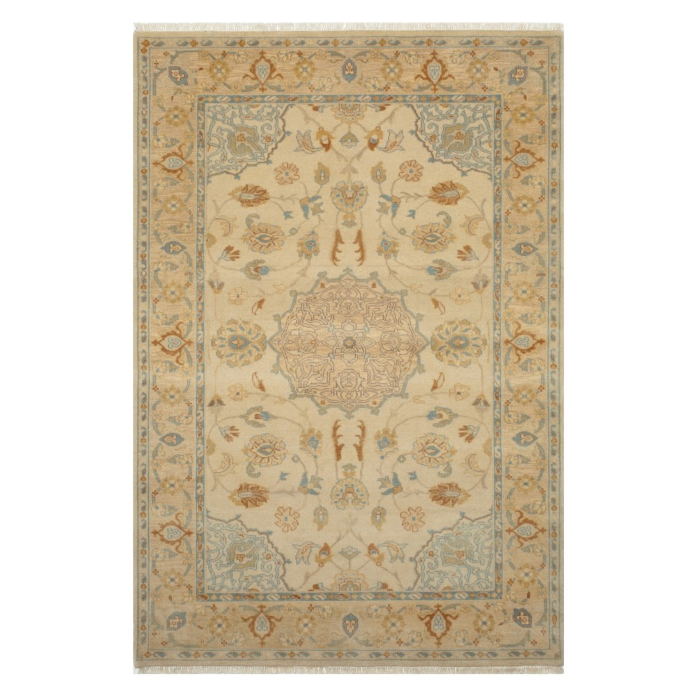 2'X3' Medallion Knotted Accent Rug Beige - Momeni
