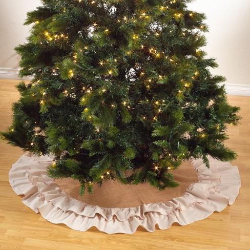 Saro Lifestyle Cotton and Jute Christmas Tree Skirt With Ruffled Edge - image 1 of 4
