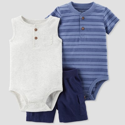 Baby Boys' 3pc Bodysuit and Cargo Shorts Set - Just One You® made by carter's Blue 6M