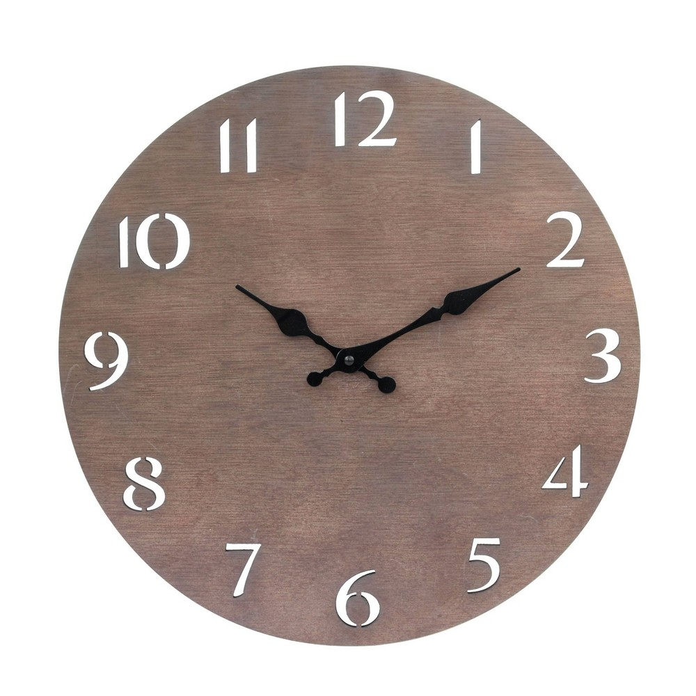 """Image of """"14"""""""" Round Dark Natural Wood Wall Clock with Cutout Numbers Brown - Stonebriar Collection"""""""