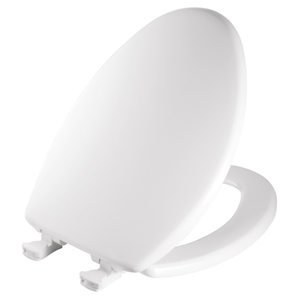 Mayfair Elongated Plastic Seat with Easy Clean & Change Hinge and Sta-Tite Toilet Seat White - Mayfair