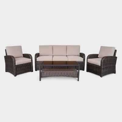 Jackson 4pc Wicker Patio Seating Set - Tan - Leisure Made