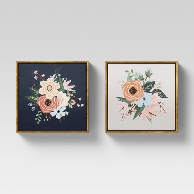 "(Set of 2)12"" x 12"" Floral Framed Wall Canvas - Opalhouse™"