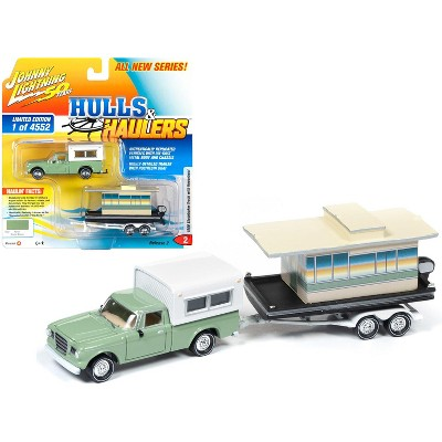 1960 Studebaker Pickup Truck w/Camper Shell Oasis Green w/Houseboat Ltd Ed 4552 pcs 1/64 Diecast Car by Johnny Lightning