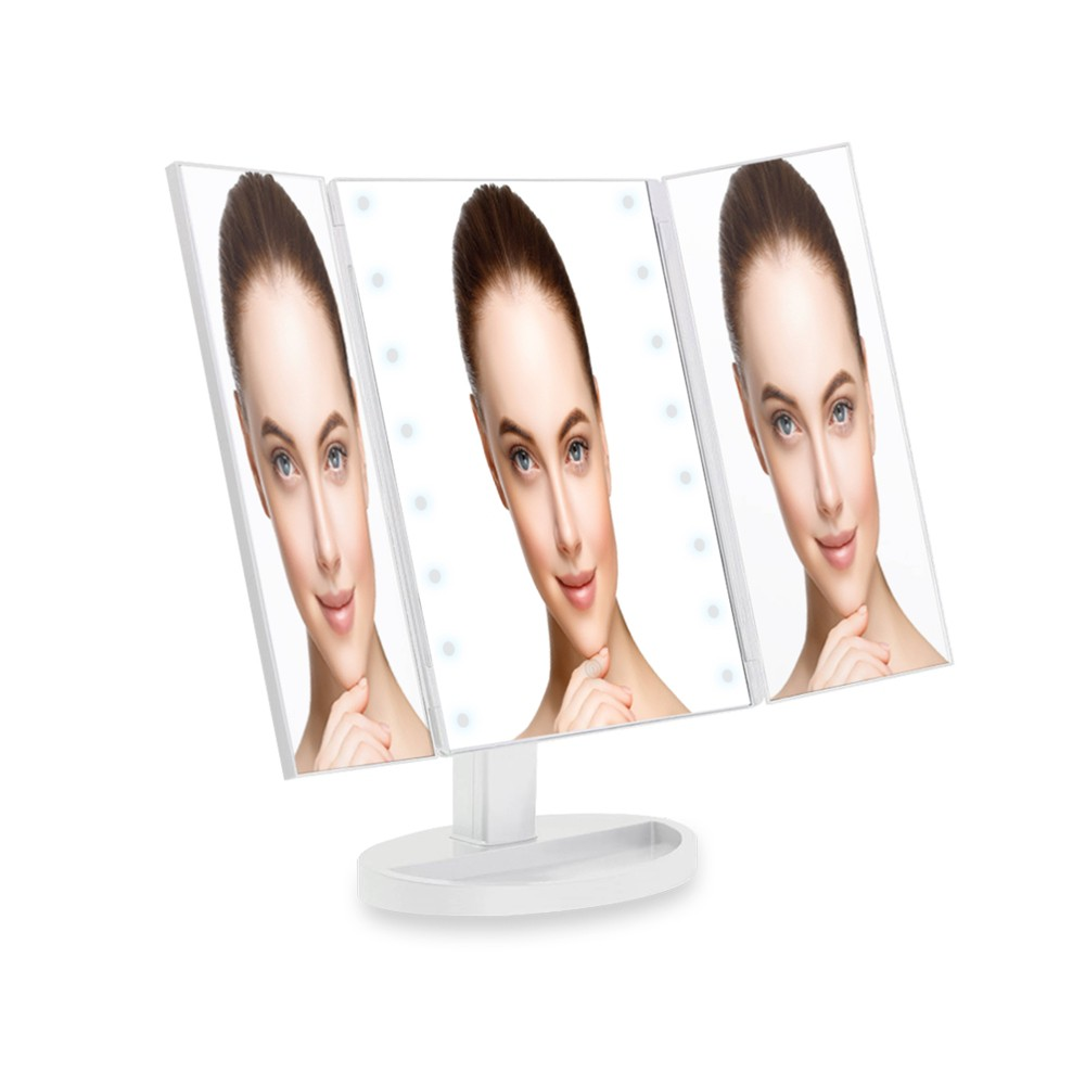 Tri Fold Led Vanity Mirror with Smart Touch White - Coby