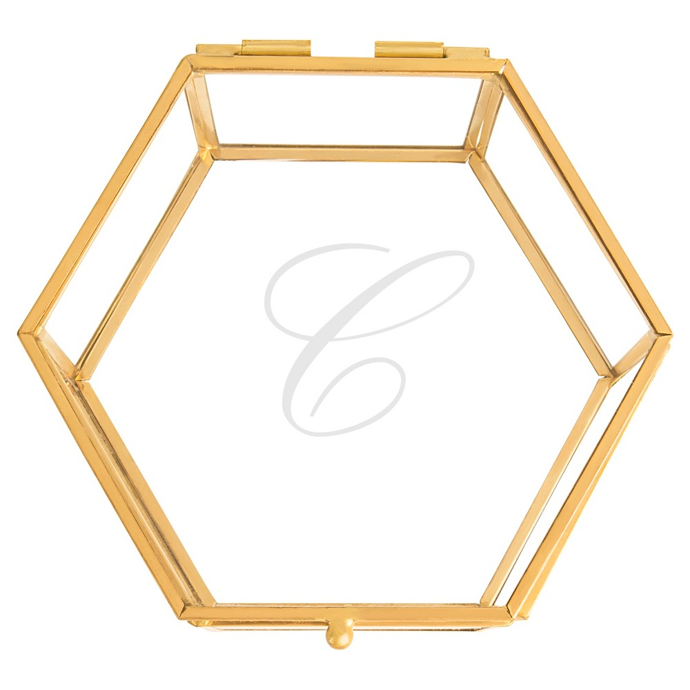 'c' Keepsake Glass Box Gold, Clear - C