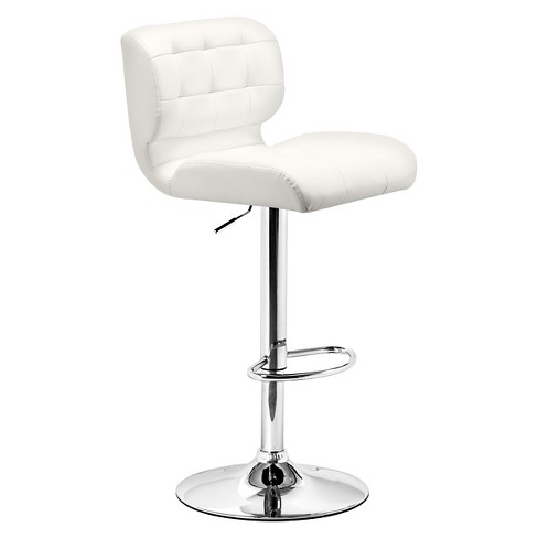 Quilted Faux Leather Adjustable 26 Barstool White Zm Home