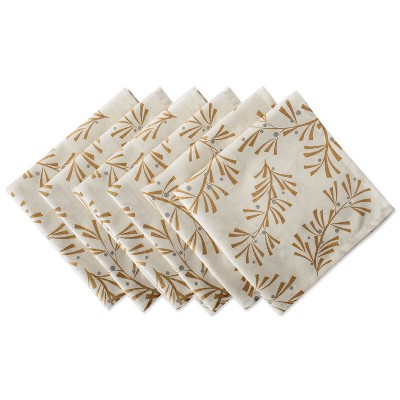 Set of 6 Metallic Holly Leaves Napkins Gold - Design Imports