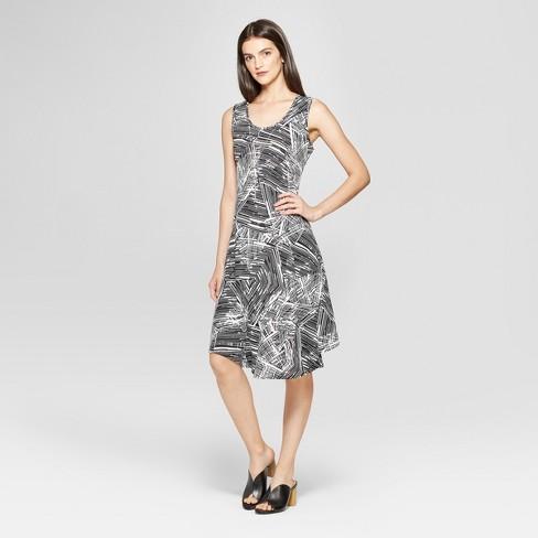Women's Printed Circle Hem Dress - Notations - Black/White - image 1 of 2