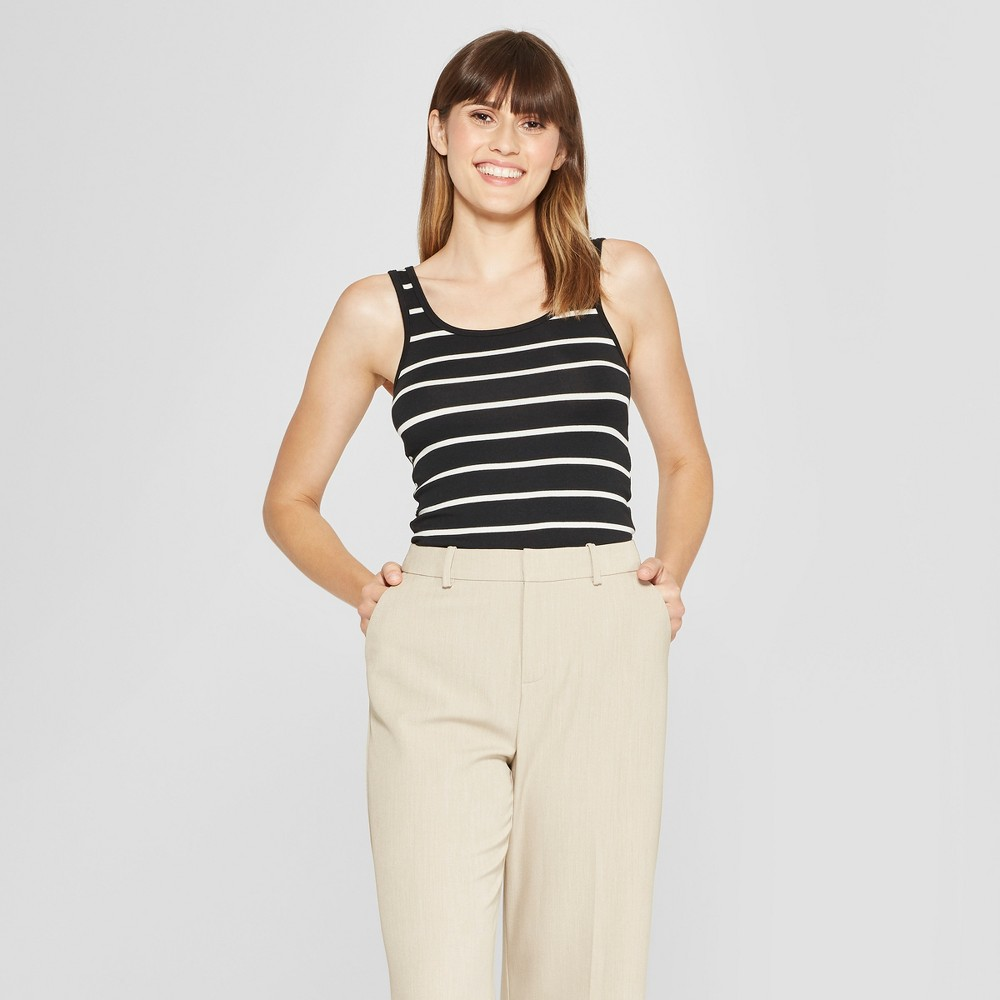 Women's Any Day Striped Tank - A New Day Black/White XS