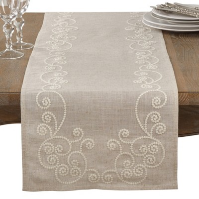 Neutral Swirl Table Runner - Saro Lifestyle