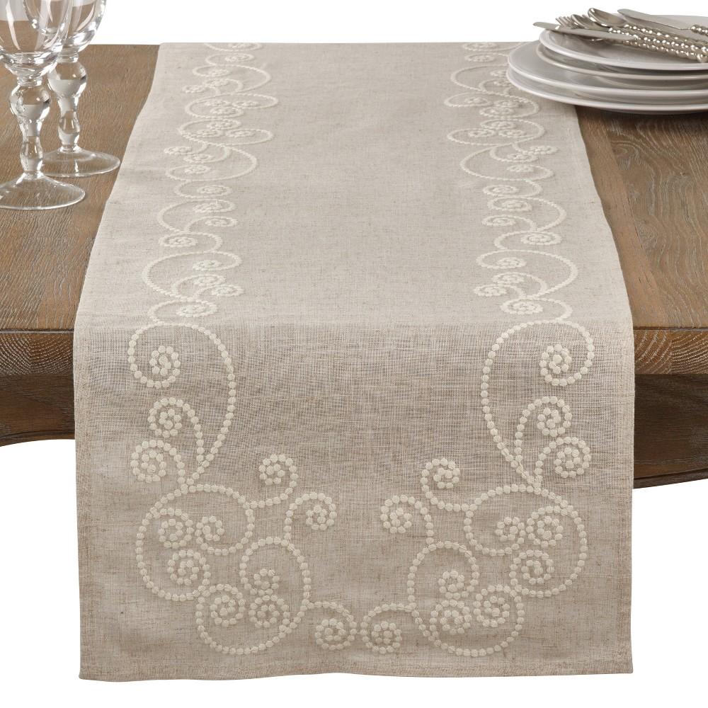 Neutral Swirl Table Runner - Saro Lifestyle