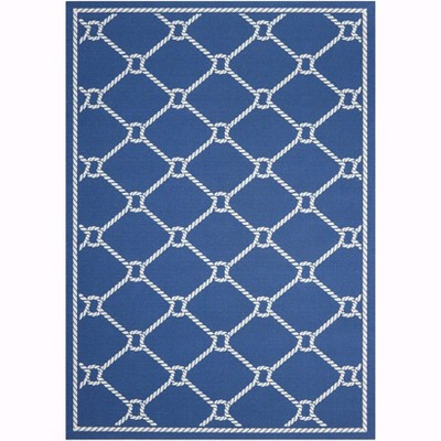 "Waverly Sun & Shade ""Rope"" Navy Indoor/Outdoor Area Rug by Nourison"