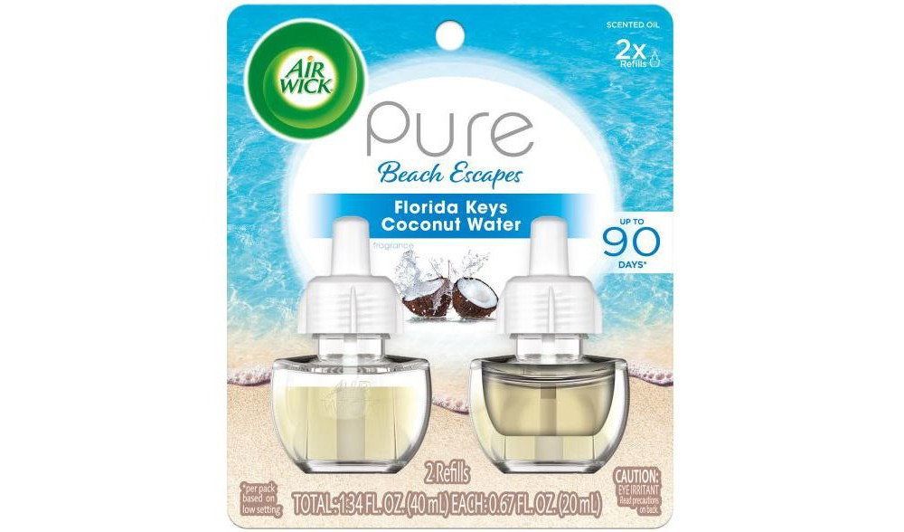 Image of Air Wick Pure Beach Escapes Florida Keys Coconut Water Scented Oil Twin Refill - 2ct/0.67oz, White