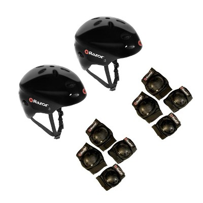 Razor V17 Kids Bike Skateboard Helmets (2 Pack) + Elbow & Knee Pads (2 Pack)