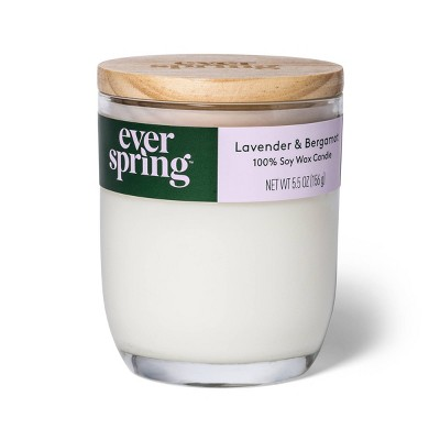 Lavender & Bergamot 100% Soy Wax Candle - Everspring™