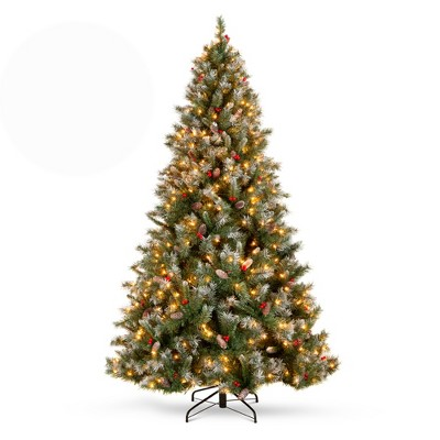 Best Choice Products Pre-Lit Pre-Decorated Holiday Christmas Tree w/ Flocked Tips, Base