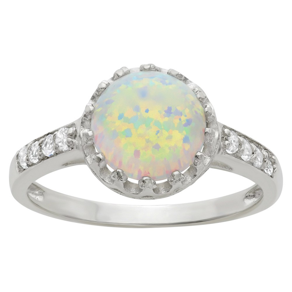 2 Tcw Tiara Round-cut Opal Crown Ring in Sterling Silver - (8)