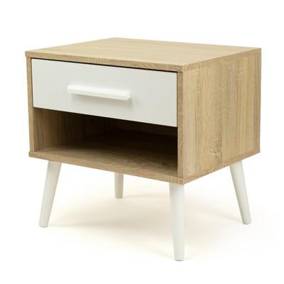 Nightstand with Drawer Storage Light Wood/White - Humble Crew