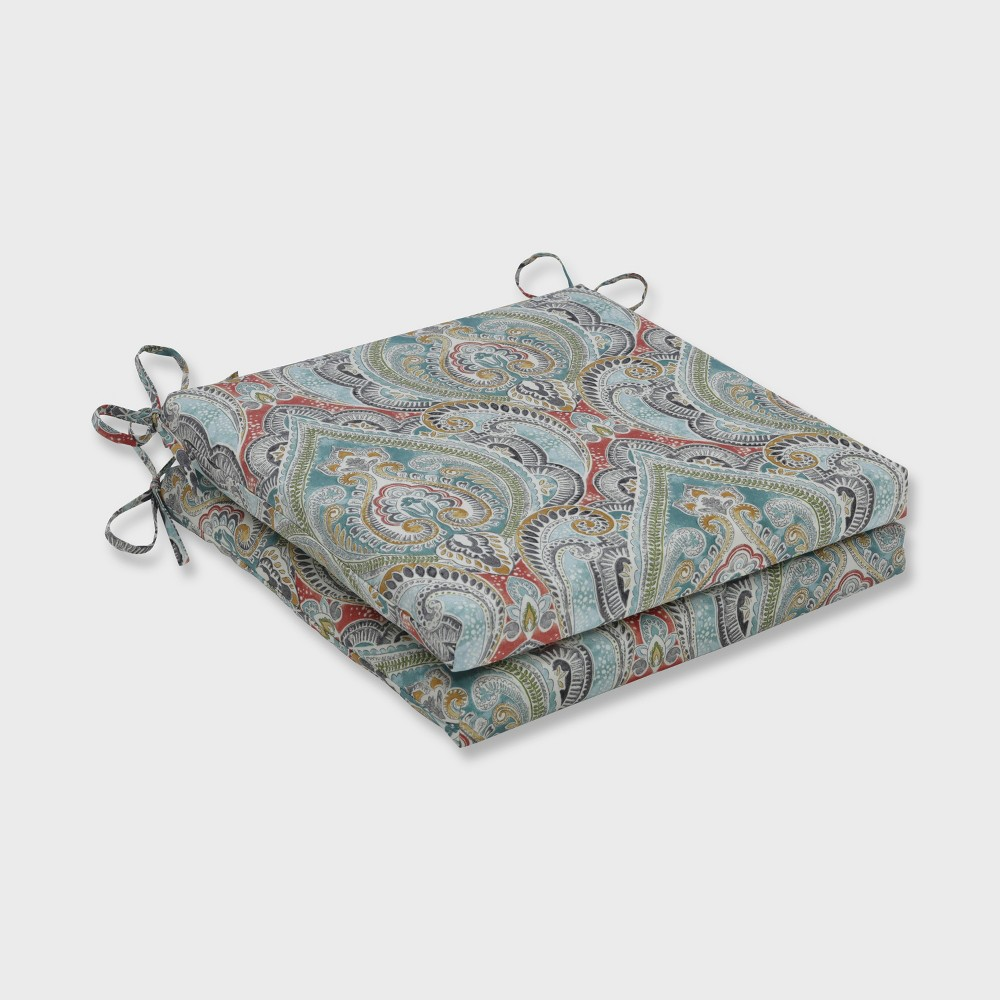 2pk Pretty Witty Reef Squared Corners Outdoor Seat Cushion Blue Pillow Perfect