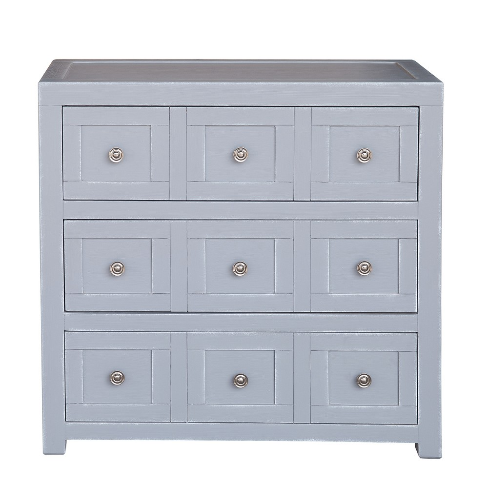 Apothecary Style Three Drawer Accent Storage Chest with Brushed Nickel Hardware - White - Pulaski