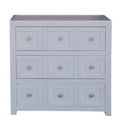 Apothecary Style Three Drawer Accent Storage Chest With Brushed Nickel Hardware White Ski