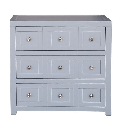 Apothecary Style Three Drawer Accent Storage Chest With Brushed Nickel  Hardware   White   Pulaski