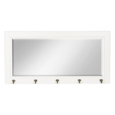 "36"" x 18"" Pub Mirror with Metal Hooks White - DesignOvation"