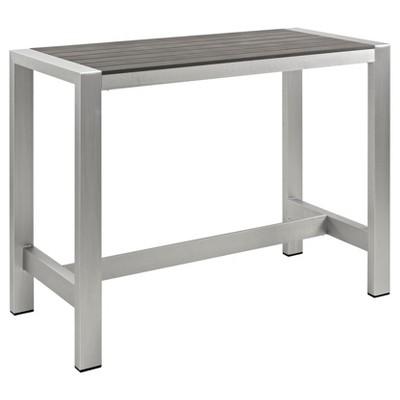 Shore Outdoor Patio Aluminum Rectangle Bar Table - Silver/Gray - Modway