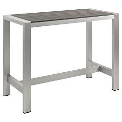 Shore Outdoor Patio Aluminum Rectangle Bar Table - Silver/Gray - Modway