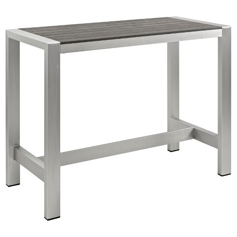 Shore Outdoor Patio Aluminum Rectangle Bar Table - Silver/Gray - Modway - Shore Outdoor Patio Aluminum Rectangle Bar Table - Silver/Gray