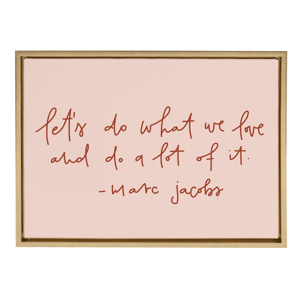 """Cheap 18"""" x 24"""" Sylvie Do What We Love Framed Canvas Wall Art by Maja Tomljanovic Gold - Kate and Laurel"""