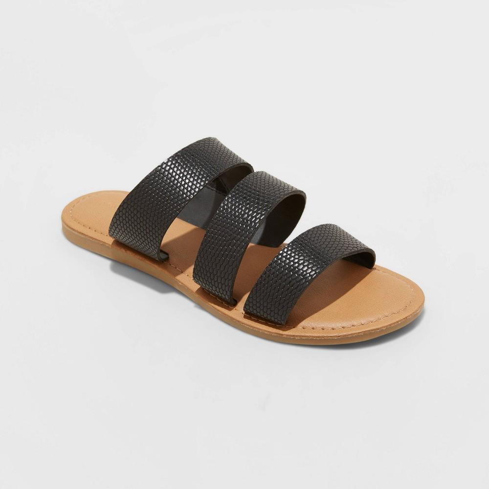 Women 39 S Sammi Snake Print Triple Band Slide Sandals Universal Thread 8482 Black 5 5