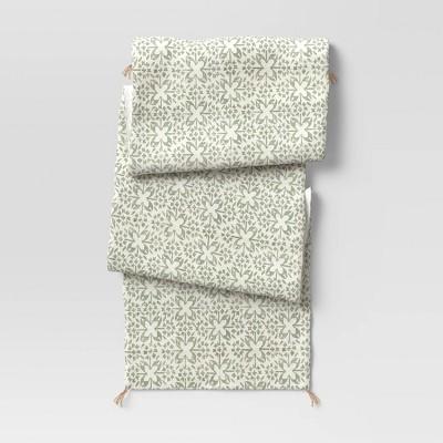 """72"""" x 14"""" Cotton Tile Print Table Runner Green - Threshold™"""