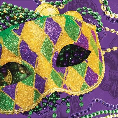 16ct Masks Of Mardi Gras Disposable Napkins Purple