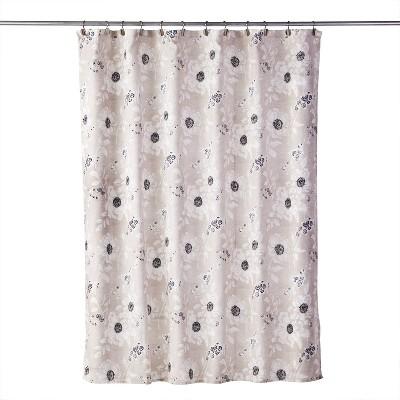 Linen Flowers Shower Curtain Beige - SKL Home