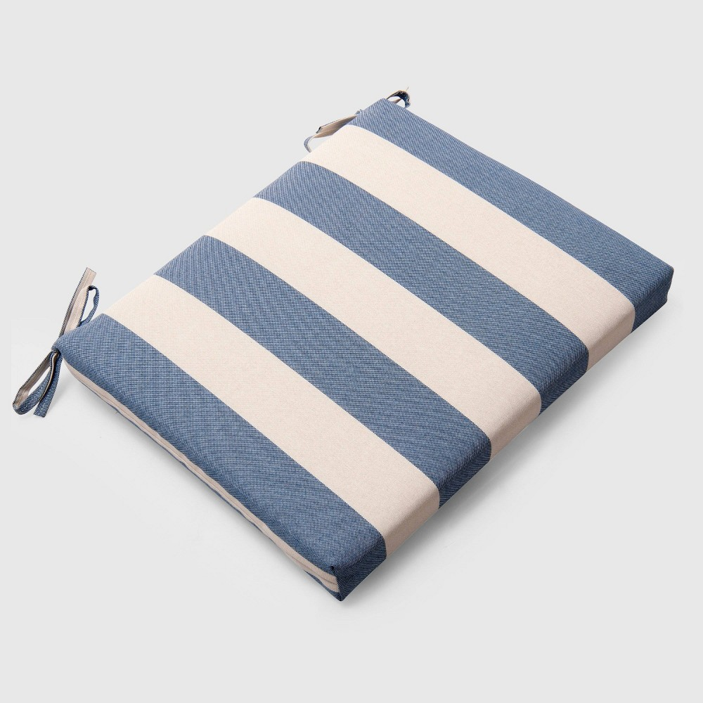 Cabana Stripe Outdoor Seat Cushion Navy (Blue) - Threshold