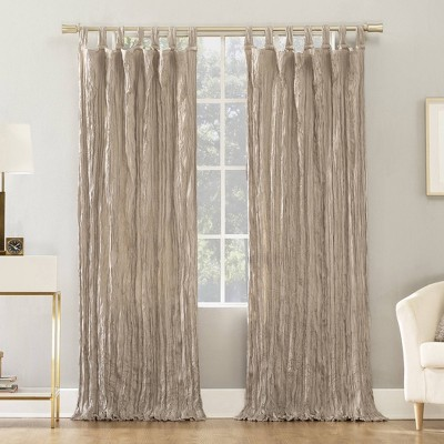 "84""x50"" Odelia Distressed Velvet Tab Top Light Filtering Curtain Panel Beige - No. 918"