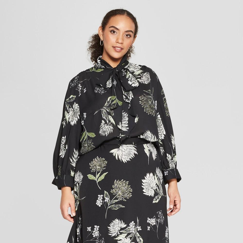 Women's Plus Size Floral Print Long Sleeve Tie Neck Drapey Blouse - Who What Wear Black/Cream (Black/Ivory) 2X