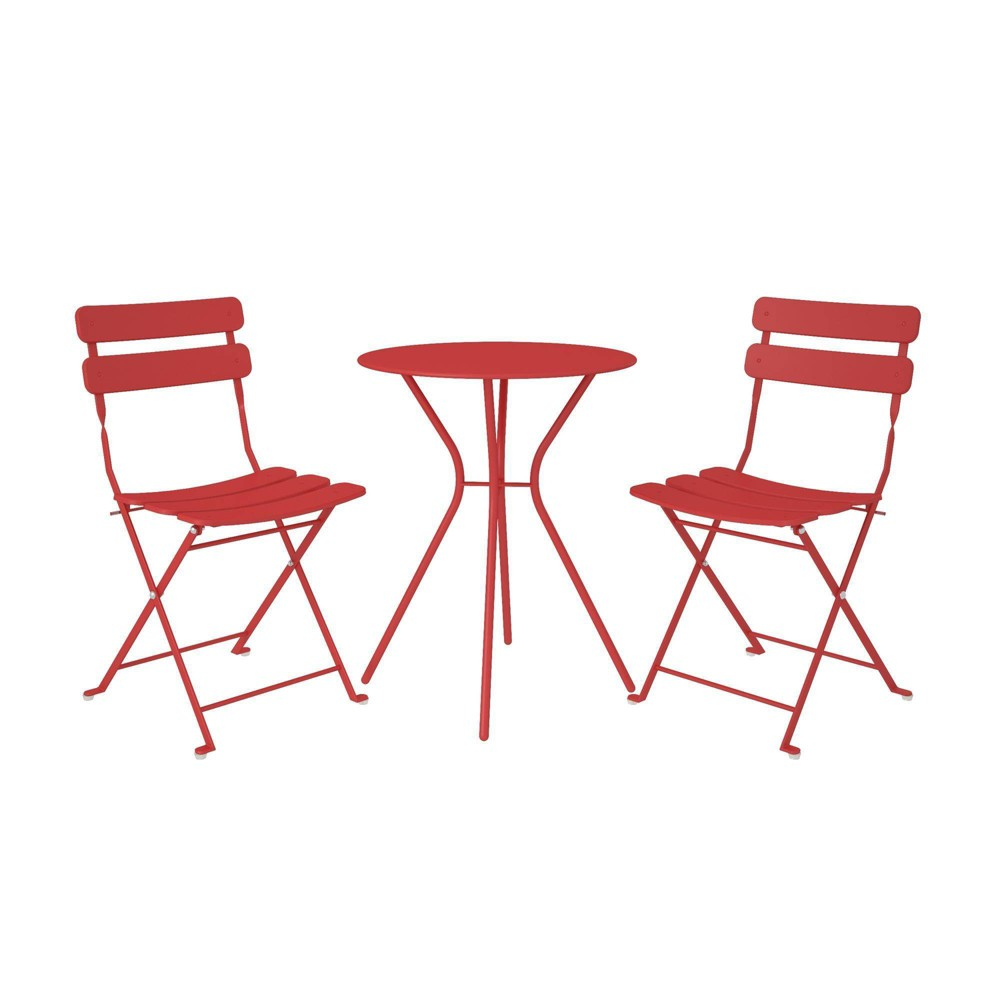 Image of Cosco 3pc Bistro Set with 2 Folding Chairs - Red