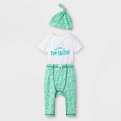 Baby Dad 3pc Top & Bottom Set with Hat - Cat & Jack™ White 6-9M