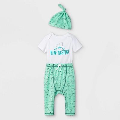Baby Dad 3pc Top & Bottom Set with Hat - Cat & Jack™ White Newborn