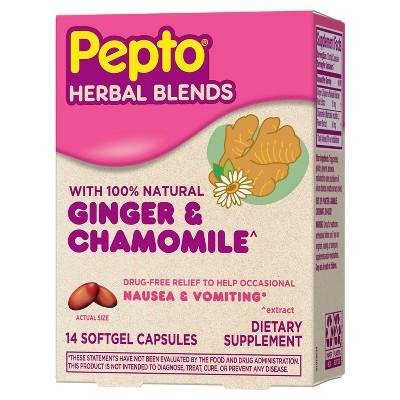 Pepto-Bismol Herbal Blends Softgel for Morning Sickness - Ginger & Chamomile - 14ct
