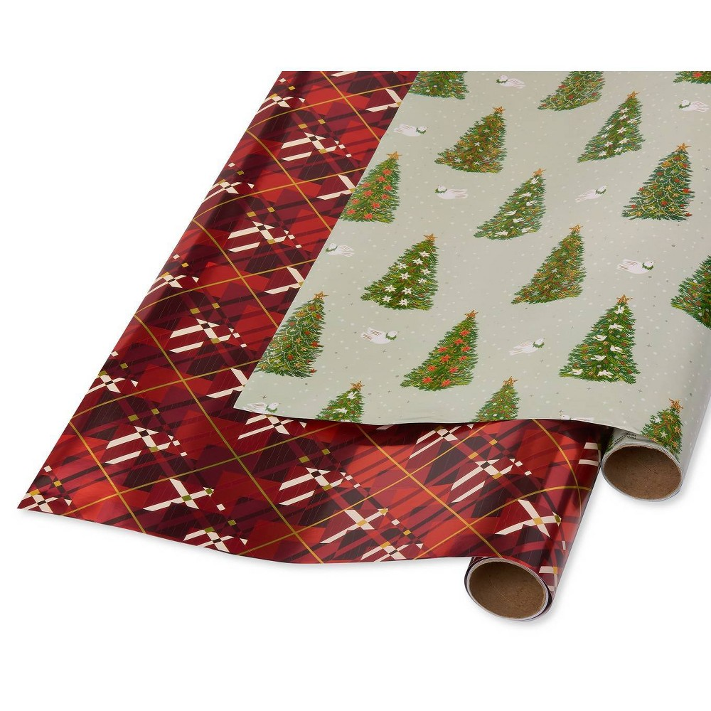 Image of 2ct Papyrus Pine Trees and Doves and Red Argyle Gift Wrap