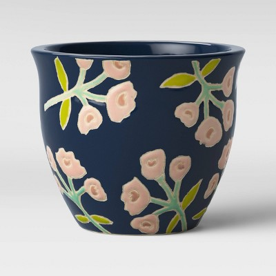 7  Floral Earthenware Planter Blue - Opalhouse™