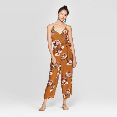 Women's Floral Print Sleeveless V-Neck Wrap Jumpsuit - Xhilaration™ Mustard - image 1 of 2